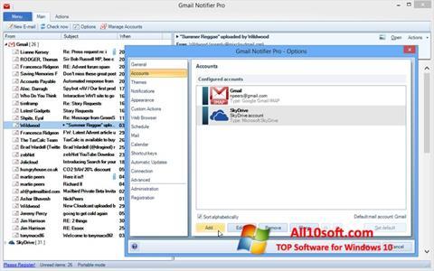 لقطة شاشة Gmail Notifier لنظام التشغيل Windows 10