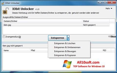 لقطة شاشة IObit Unlocker لنظام التشغيل Windows 10