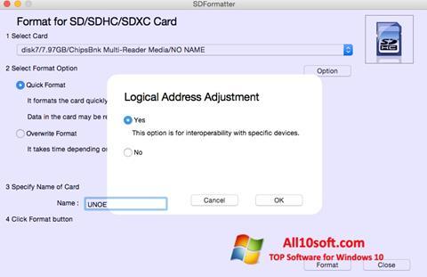 لقطة شاشة SDFormatter لنظام التشغيل Windows 10