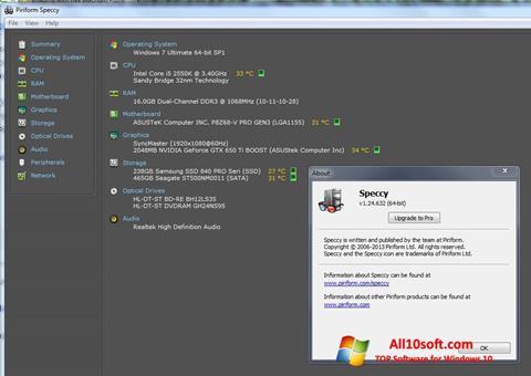 لقطة شاشة Speccy لنظام التشغيل Windows 10