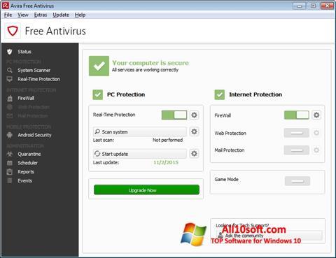 لقطة شاشة Avira Free Antivirus لنظام التشغيل Windows 10