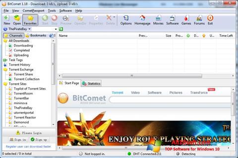 لقطة شاشة BitComet لنظام التشغيل Windows 10