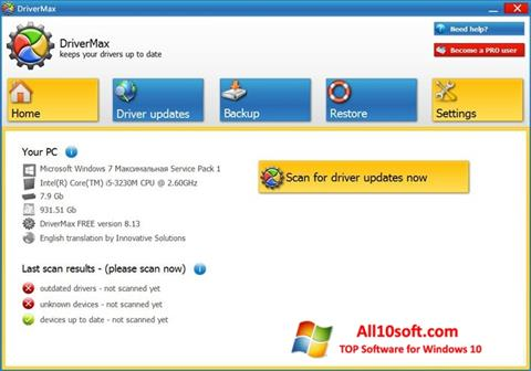 لقطة شاشة DriverMax لنظام التشغيل Windows 10
