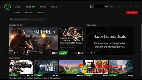 لقطة شاشة Razer Cortex لنظام التشغيل Windows 10