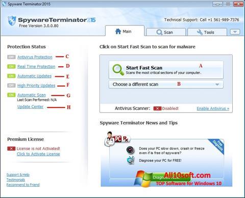 لقطة شاشة Spyware Terminator لنظام التشغيل Windows 10