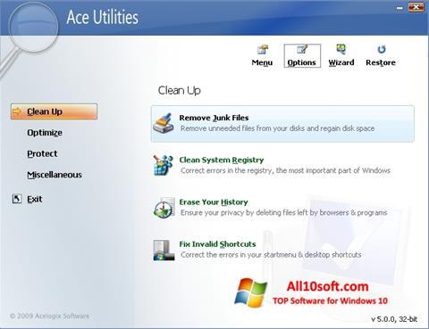 لقطة شاشة Ace Utilities لنظام التشغيل Windows 10