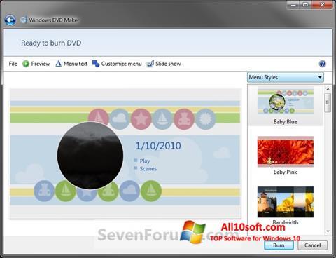 لقطة شاشة DVD Maker لنظام التشغيل Windows 10