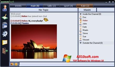لقطة شاشة CommFort لنظام التشغيل Windows 10