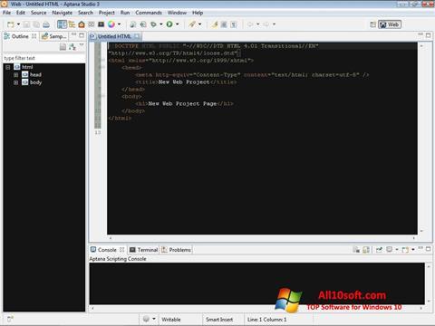 لقطة شاشة Aptana Studio لنظام التشغيل Windows 10