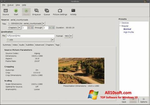 لقطة شاشة HandBrake لنظام التشغيل Windows 10