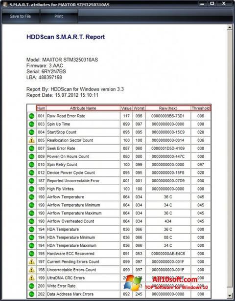 لقطة شاشة HDDScan لنظام التشغيل Windows 10