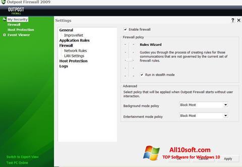 لقطة شاشة Outpost Firewall Free لنظام التشغيل Windows 10