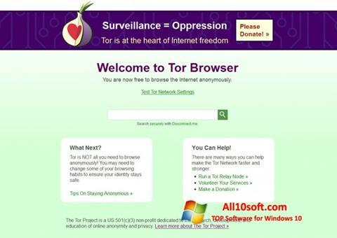 لقطة شاشة Tor لنظام التشغيل Windows 10