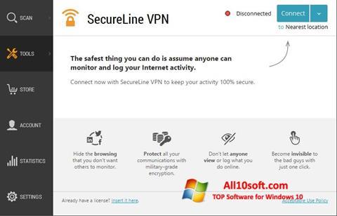 لقطة شاشة Avast SecureLine VPN لنظام التشغيل Windows 10