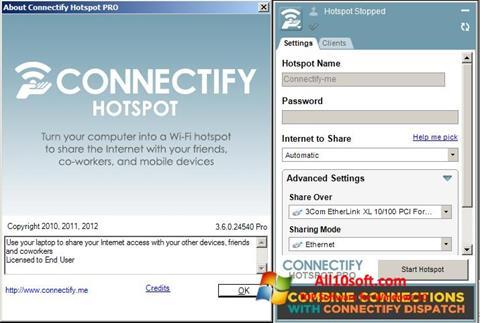 لقطة شاشة Connectify Hotspot لنظام التشغيل Windows 10