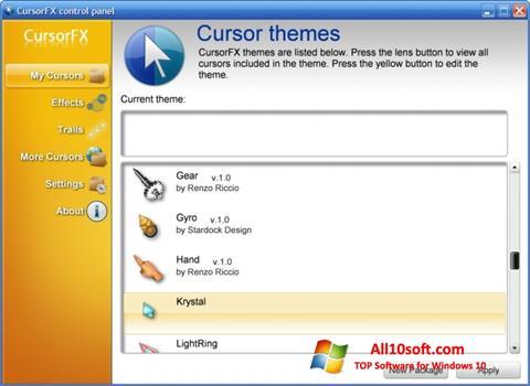 لقطة شاشة CursorFX لنظام التشغيل Windows 10