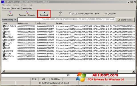 لقطة شاشة FlashTool لنظام التشغيل Windows 10