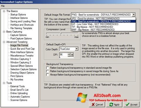 لقطة شاشة Screenshot Captor لنظام التشغيل Windows 10