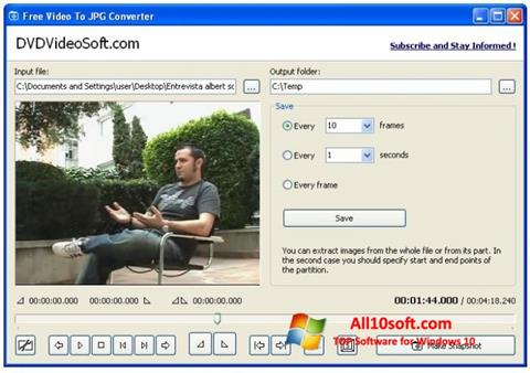 لقطة شاشة Free Video to JPG Converter لنظام التشغيل Windows 10