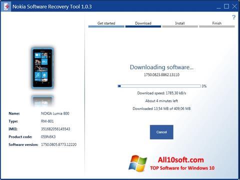 لقطة شاشة Nokia Software Recovery Tool لنظام التشغيل Windows 10