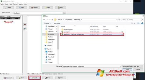 لقطة شاشة ArtMoney لنظام التشغيل Windows 10