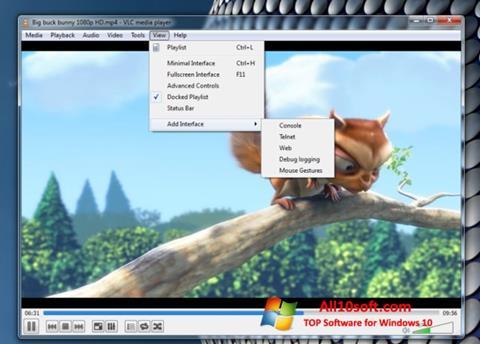 لقطة شاشة VLC Media Player لنظام التشغيل Windows 10