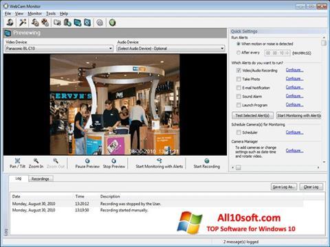 لقطة شاشة WebCam Monitor لنظام التشغيل Windows 10