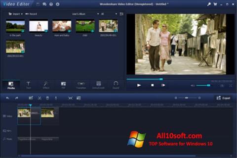 لقطة شاشة Wondershare Video Editor لنظام التشغيل Windows 10