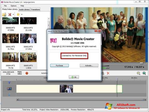 لقطة شاشة Bolide Movie Creator لنظام التشغيل Windows 10