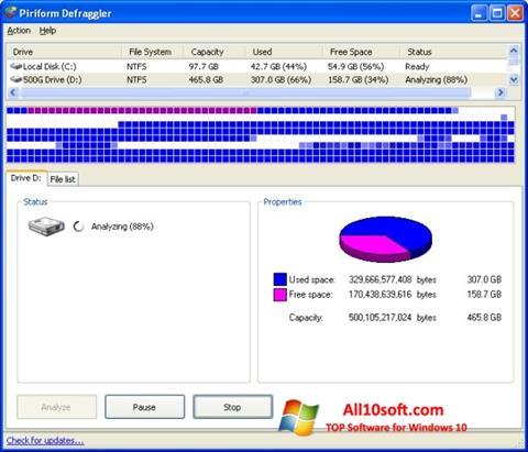 لقطة شاشة Defraggler لنظام التشغيل Windows 10