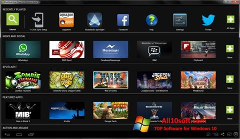 لقطة شاشة BlueStacks لنظام التشغيل Windows 10