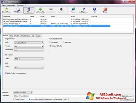 لقطة شاشة XMedia Recode لنظام التشغيل Windows 10