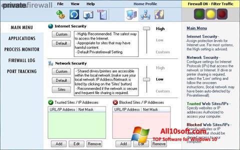 لقطة شاشة Privatefirewall لنظام التشغيل Windows 10