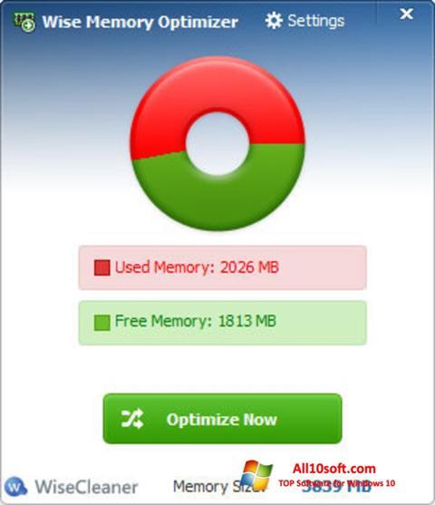 لقطة شاشة Wise Memory Optimizer لنظام التشغيل Windows 10