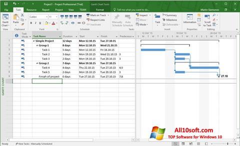 لقطة شاشة Microsoft Project لنظام التشغيل Windows 10