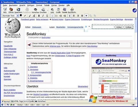 لقطة شاشة SeaMonkey لنظام التشغيل Windows 10