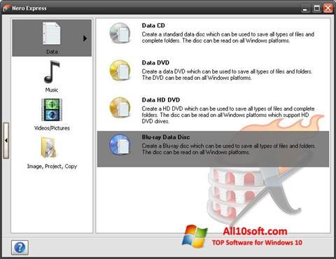 لقطة شاشة Nero Micro لنظام التشغيل Windows 10