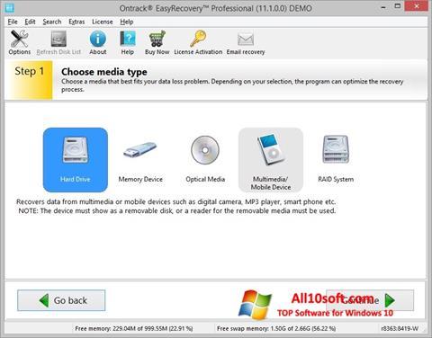 لقطة شاشة EasyRecovery Professional لنظام التشغيل Windows 10
