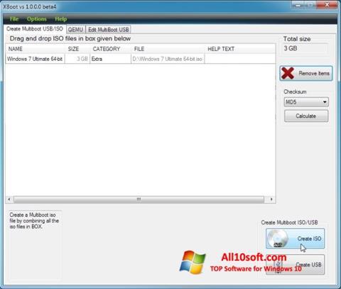 لقطة شاشة XBoot لنظام التشغيل Windows 10
