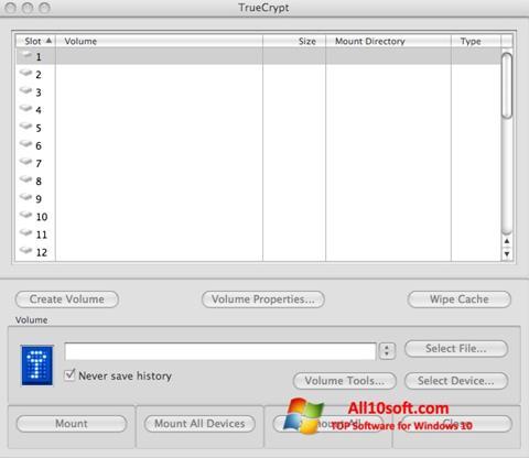 لقطة شاشة TrueCrypt لنظام التشغيل Windows 10