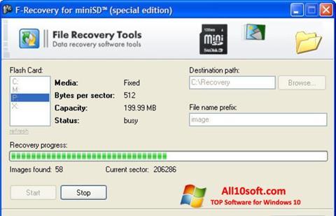 لقطة شاشة F-Recovery SD لنظام التشغيل Windows 10