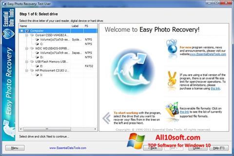 لقطة شاشة Easy Photo Recovery لنظام التشغيل Windows 10