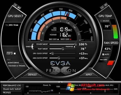 لقطة شاشة EVGA Precision X لنظام التشغيل Windows 10
