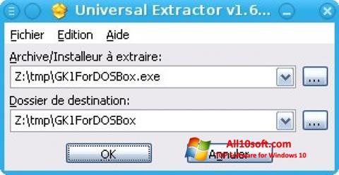 لقطة شاشة Universal Extractor لنظام التشغيل Windows 10
