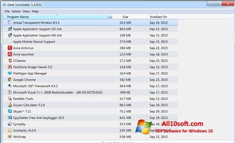 لقطة شاشة Geek Uninstaller لنظام التشغيل Windows 10