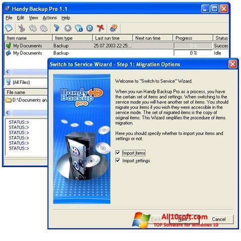 لقطة شاشة Handy Backup لنظام التشغيل Windows 10