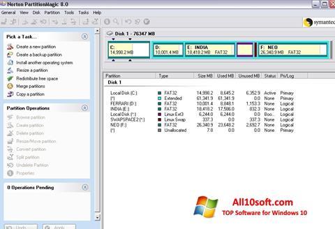 لقطة شاشة Norton Partition Magic لنظام التشغيل Windows 10