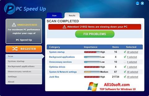 لقطة شاشة PC Speed Up لنظام التشغيل Windows 10