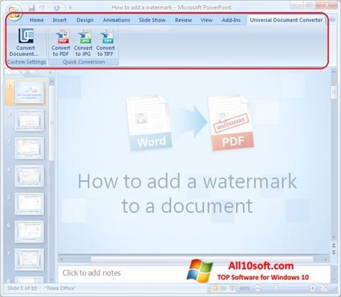لقطة شاشة Microsoft PowerPoint لنظام التشغيل Windows 10