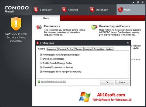 لقطة شاشة Comodo Firewall لنظام التشغيل Windows 10
